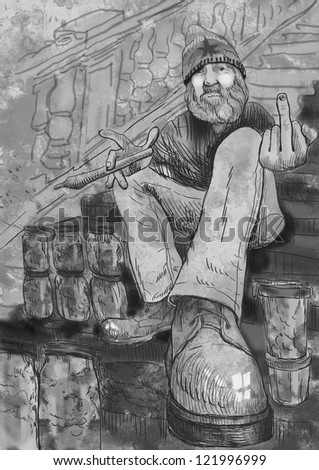 Dude selling marijuana on the stairs with red carpet and showing middle finger  / Full-sized (original) hand drawing. Technique: digital tablet. Black and white illustration.