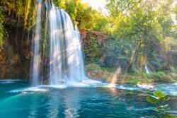 Duden (upper) waterfall and national park in Antalya city, Turkey