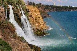 Duden Waterfall flows into the sea in the Antalya from Turkey