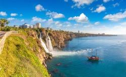 Duden waterfall in Antalya, Turkey in a beautiful summer day