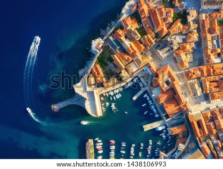 Dudrovnik, Croatia. Aerial view on the old town. Vacation and adventure. Town and sea. Top view from drone at on the old castle and azure sea. Travel - image