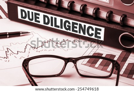 due diligence on business document file Foto stock ©