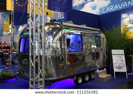 DUESSELDORF - AUGUST 27: Airstream caravan at the Caravan Salon Exhibition 2012 on August 27, 2012 in Dusseldorf, Germany.