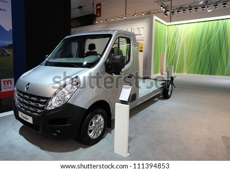 DUESSELDORF - AUGUST 27: Renault Master chassis for the camper vans at the Caravan Salon Exhibition 2012 on August 27, 2012 in Dusseldorf, Germany