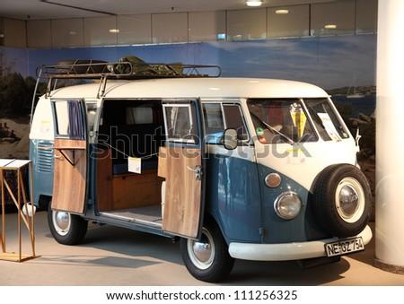 DUESSELDORF - AUGUST 27: Volkswagen Type 2 camper van showed at the Caravan Salon Exhibition 2012 on August 27, 2012 in Dusseldorf, Germany.