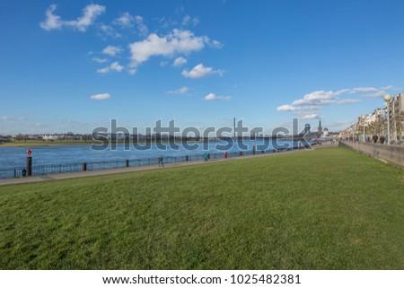 Duesseldorf - Panorama from River Rhine Promenade to historic Center, North Rhine Westphalia, Germany, Duesseldorf, 13.02.2018