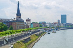 Duesseldorf panorama with river Rhein (Rhine), Germany