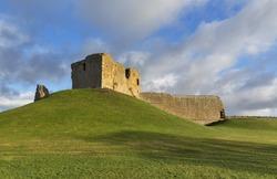 Duffus Castle in the December sun.