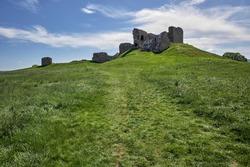 Duffus Castle near Elgin Moray Scotland, historic motte & bailey castle.