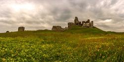 Duffus Castle panorama.