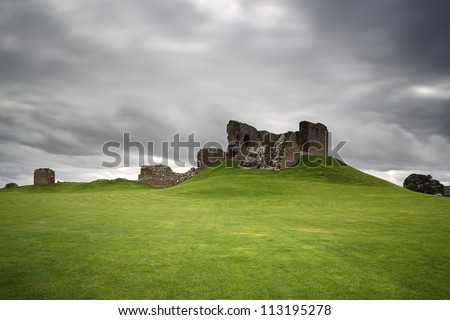 Duffus Castle ruin perched on a grassy mound, moray, Scotland.