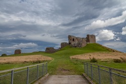 Duffus castle with cloudy sky