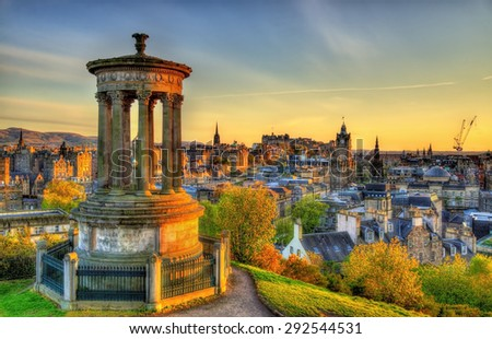 Dugald Stewart Monument on Calton Hill in Edinburgh - Scotland