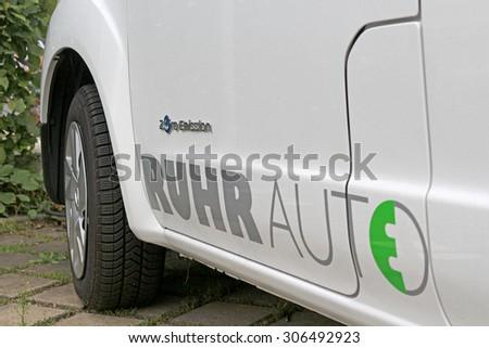 DUISBURG,  North Rhine-Westphalia, Germany August 9th, 2015, Rhurauto-e logo on a electric shared car.
