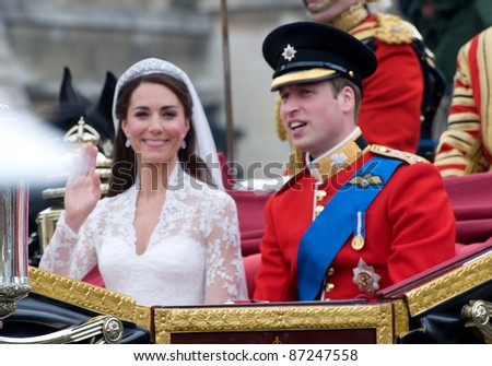Duke & Duchess of Cambridge (Prince William and Kate Middleton) leaving Westminster Abbey following their royal wedding. April 29, 2011  London, UK Picture: Paul Smith / Featureflash