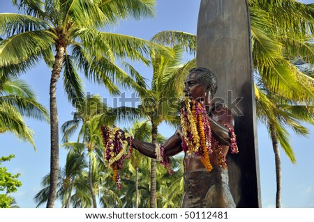 Duke Kahanamoku Statue in Waikiki Beach, Honolulu, Hawaii