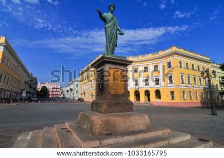 Duke Richelieu statue, Odessa's first Mayor, in Odessa, Ukraine. #1033165795