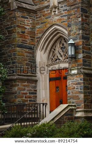 Duke University Chapel Side Door, Durham, North Carolina. - stock photo