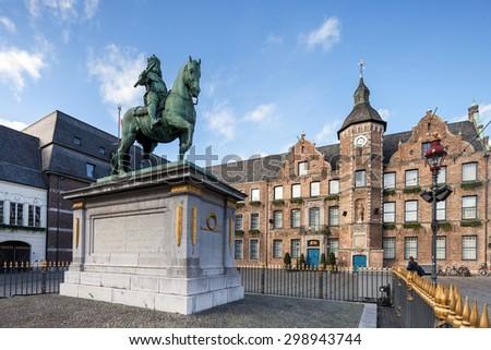 Duke Wilhelm statue in old city center of Dusseldorf #298943744