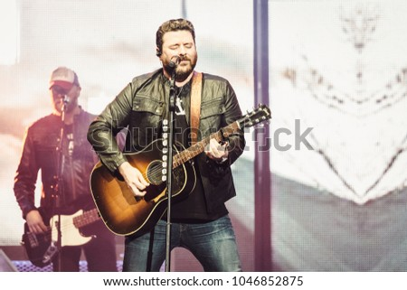 DULUTH, GA, USA - FEBRUARY 15TH, 2018: Country music singer Chris Young performs on stage during Losing Sleep 2018 World Tour at Infinite Energy Center.