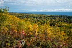 Duluth, Minnesota. Beautiful fall colors in the Superior National forest edging down to Lake Superior in the city of Duluth.