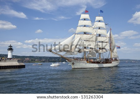 DULUTH, MINNESOTA, USA - JULY 29, 2010: The barque Europa enters Duluth harbor on Lake Superior during the Tall Ships festival.