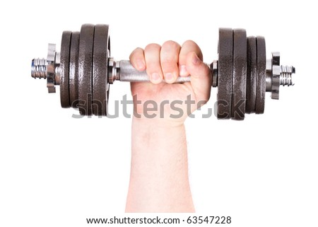 Dumbbell in hand. Isolated on a white background