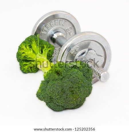 Dumbbell made of Broccoli on white background.