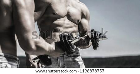 Dumbbell. Muscular bodybuilder guys, exercises with dumbbells. Muscles with dumbbell. Man training with dumbbells.