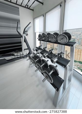 Dumbbell rack in modern gym. 3d render
