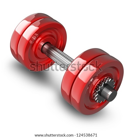 Dumbbell RED isolated on white background. High resolution 3d render