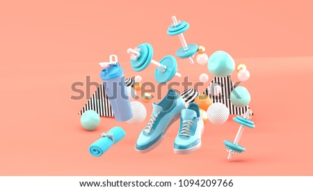 Dumbbell,Running Shoes ,Blue Towel Among the colorful balls on the pink background.-3d render.
