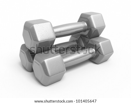 Dumbbell silver metal render (isolated on white and clipping path)