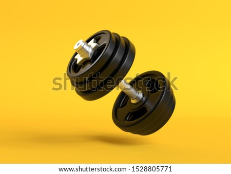 Dumbbell with black plates levitating in air on bright yellow background. Front view with copy space. Creative concept. 3d rendering illustration  Stock photo ©