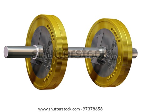 "dumbbell with euro coin as a weight-disk or plates, symbol for the young power of ""ECB"""