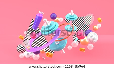 Dumbbells, badminton rackets, water bottles and a hula hoop among colorful balls on a pink background.-3d rendering.