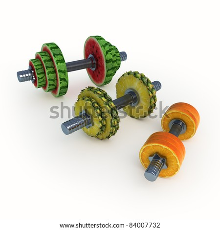 Dumbbells consisting of fruits