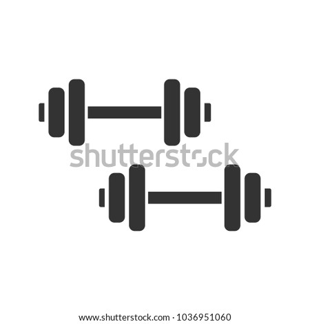 Dumbbells glyph icon. Silhouette symbol. Negative space. Barbells. Fitness equipment. Raster isolated illustration