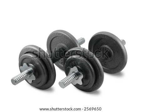 Dumbbells, isolated on the white background, clipping path included