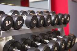 Dumbbells of different weights with numbers are on a rack in the gym. Sports equipment, training, bodybuilding. Background