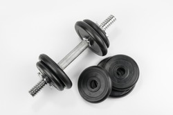 Dumbbells top view on grey background