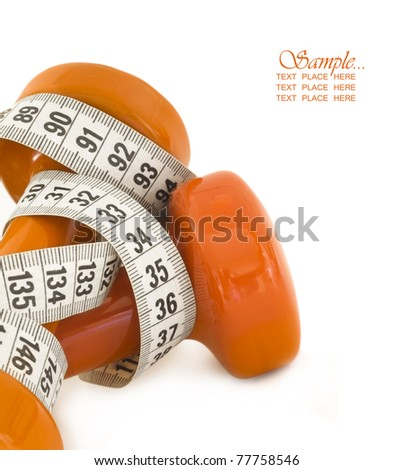 dumbbells with measuring tape and place for the text, diet concept
