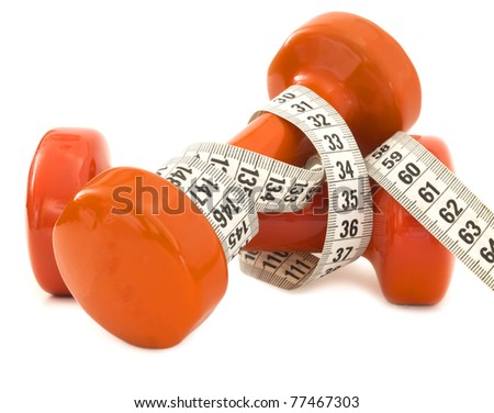 dumbbells with measuring tape, loss weight concept
