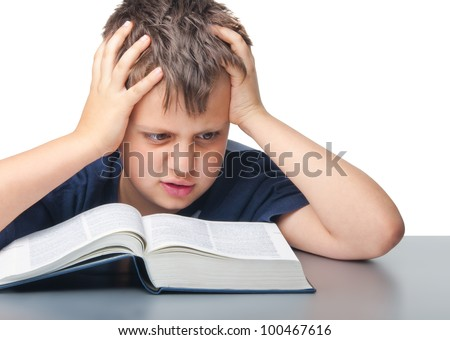 dumbfounded boy with book