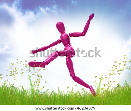 Dummy figure jumping happily on green meadow