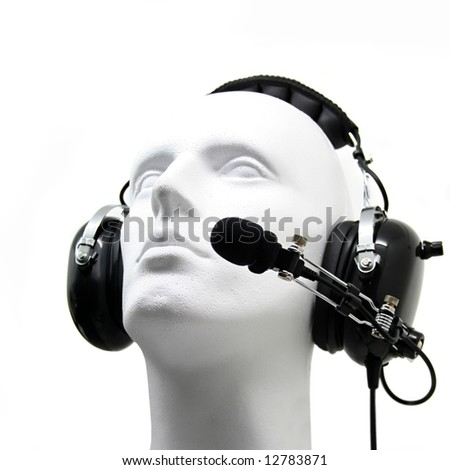 dummy head with headset isolated on white background