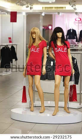 Dummy in the clothing store. No brandnames or copyright objects