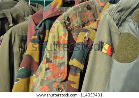 Dump Military wear on a flea market in Spa, Belgium