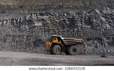 Dump truck, coal mine