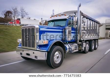 Dump truck on highway